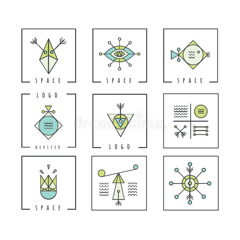 Line shapes geometry. Alchemy, religion, philosophy, spiritualit royalty free illustration