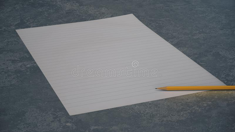 Line sheet of paper and yellow pencil on concrete background royalty free illustration