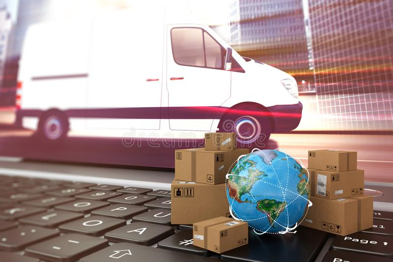 On line shipment. 3D Rendering. Small cardboard boxes and globe on a computer keyboard. 3D Rendering royalty free illustration