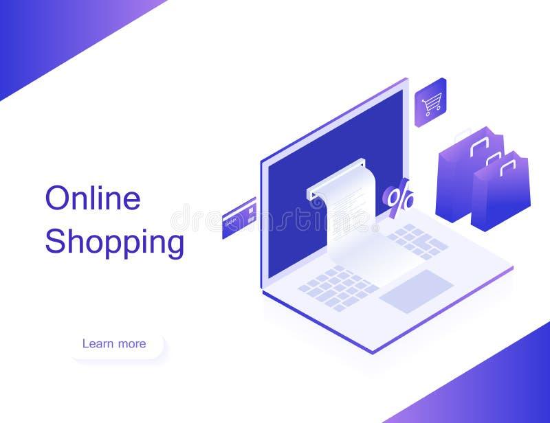 On-line-Shop Übergangsgeld von der Karte Isometrisches Bild des Laptops, der Bankkarte und der Einkaufstasche auf weißem Hintergr stockfotografie