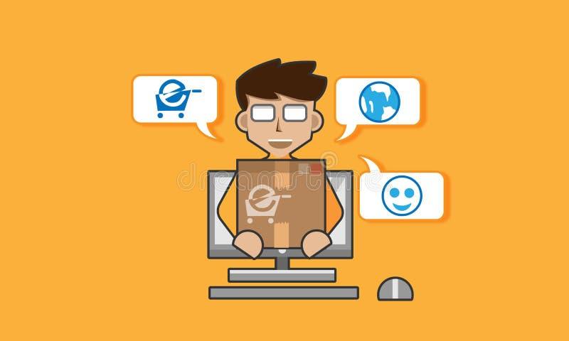 On-line-Shop in der flachen Illustration stockbilder