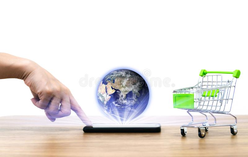 On-line--shopping karren die Bequemlichkeit des Verkaufselektronischen geschäftsverkehrs des Erdbildes zur Verfügung gestellt  stock abbildung