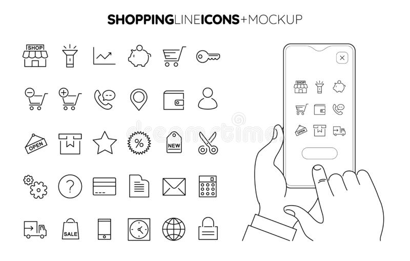 Line Shopping icon set with line hands holding smartphone mockup royalty free stock image