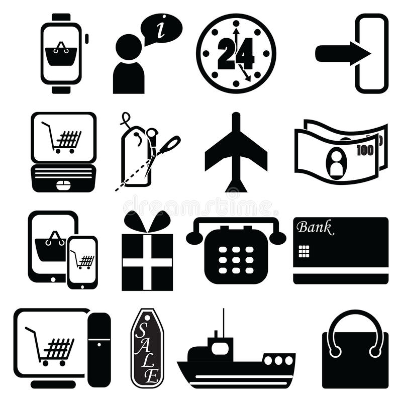 On line Shopping icons bag, sale label, plane, shipping, checkout, pc tablet mobile, laptop, 24 delivery, world wide delivery cred. It cash payment, gift, price royalty free illustration