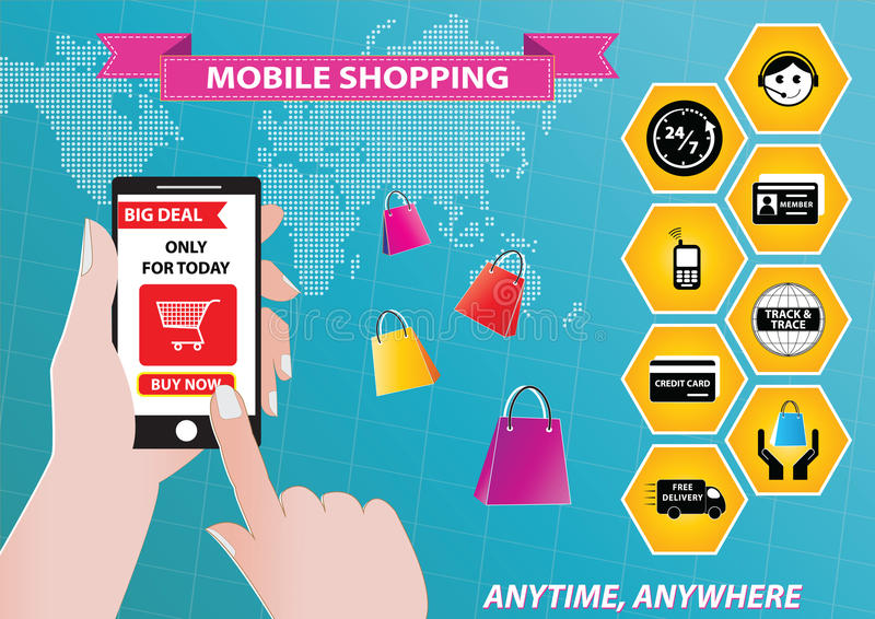 On-line Shopping. Or mobile commerce illustration stock illustration