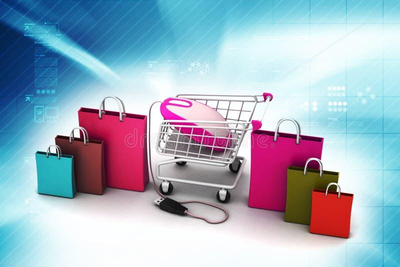 On-line shoppingbegrepp vektor illustrationer