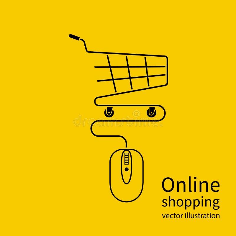 On-line shoppingbegrepp royaltyfri illustrationer