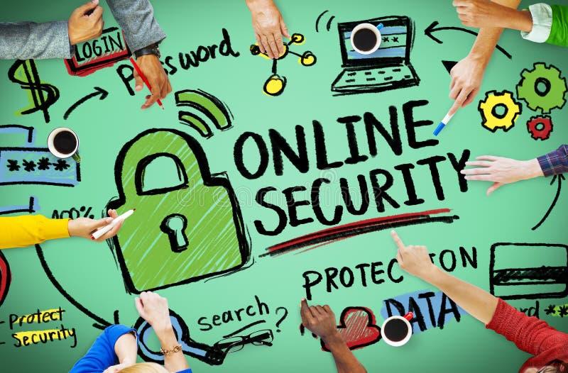 On-line-Sicherheits-Passwort-Informations-Schutz-Privatleben-Internet stockbild