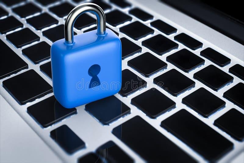 On-line-Sicherheitskonzept mit blauem Vorhängeschloß lizenzfreies stockbild