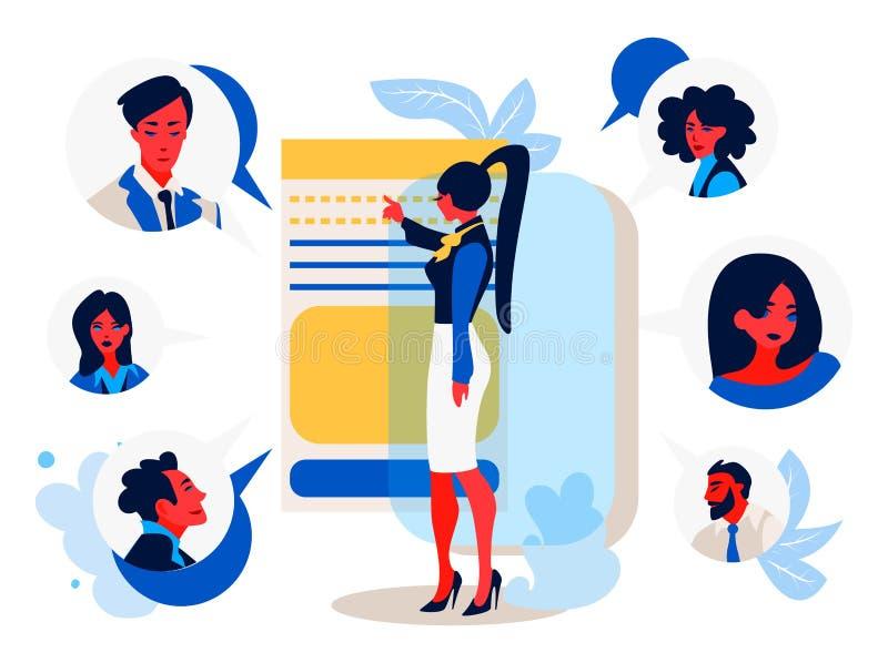 On-line-Sitzung Eine junge Arbeitnehmerin mit einem Smartphone plaudernd mit ihren Kollegen lizenzfreie abbildung