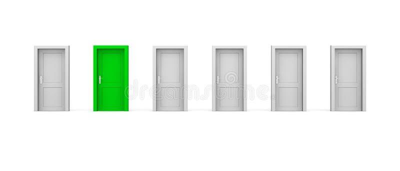 Line of Six Doors - One Green