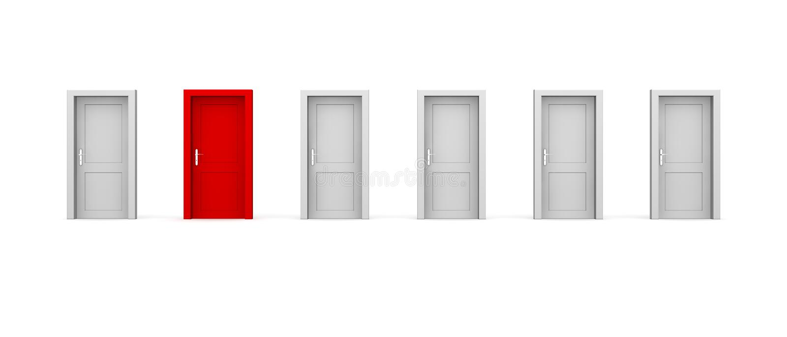 Line of Six Doors - One Red stock illustration