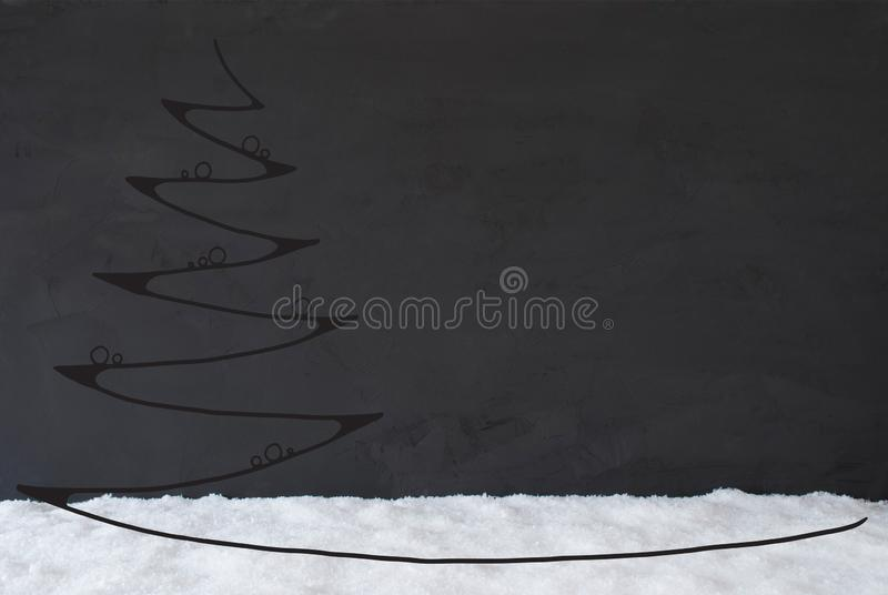Line Sketch Of Christmas Tree, Ball, Snow, Copy Space, Black Background. Line Sketch Of Christmas Tree With Ball Ornament. Black Cement Background With Copy royalty free stock photos
