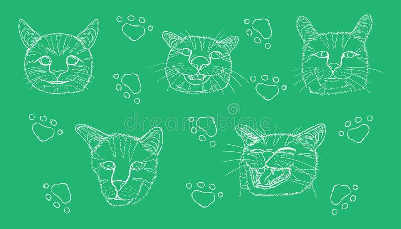 Line sketch of different element cute cat head and footprint. vector illustration eps10. Line sketch of different element cute cat head and footprint stock photos