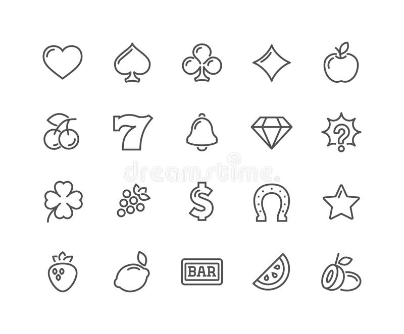 Line Slot Machine Icons. Simple Set of Slot Machine Vector Line Icons. Contains such Icons as Four-Leaf, Diamond, Fruits and more. Editable Stroke. 48x48 Pixel stock illustration