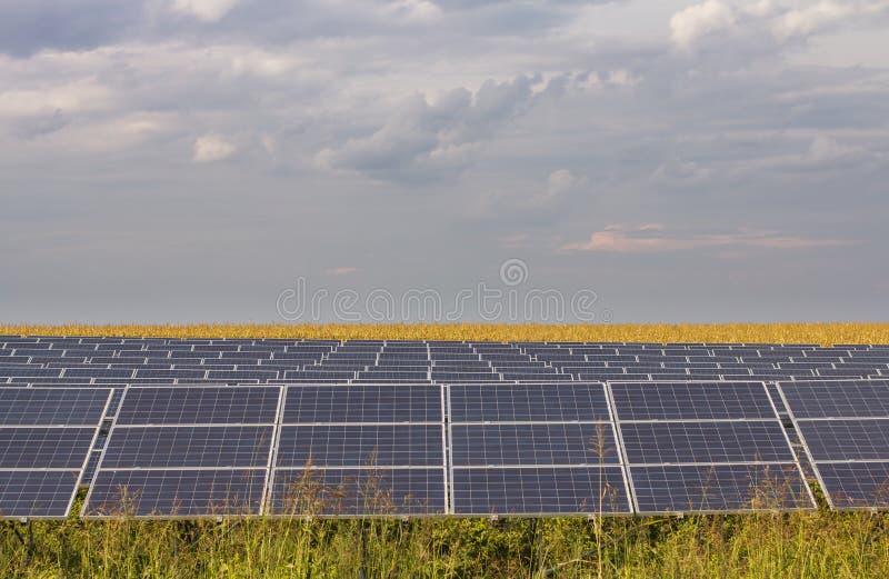 Line of solar panels stock photo