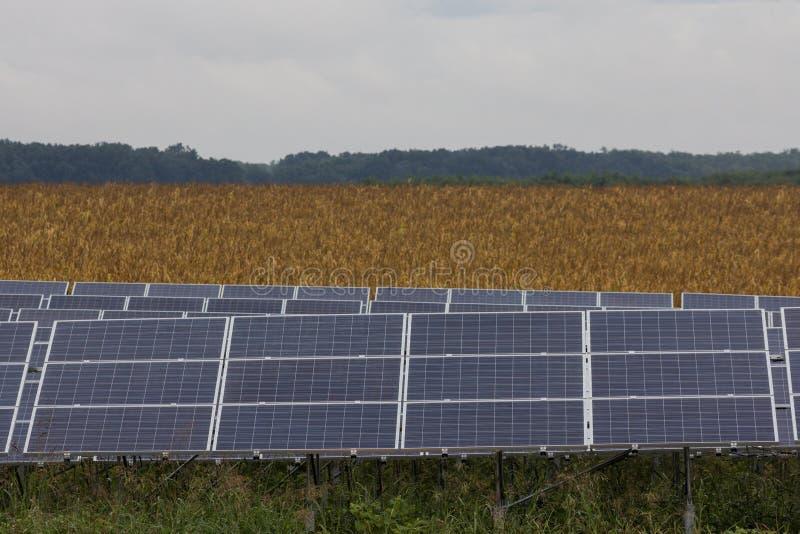 Line of solar panels royalty free stock photo