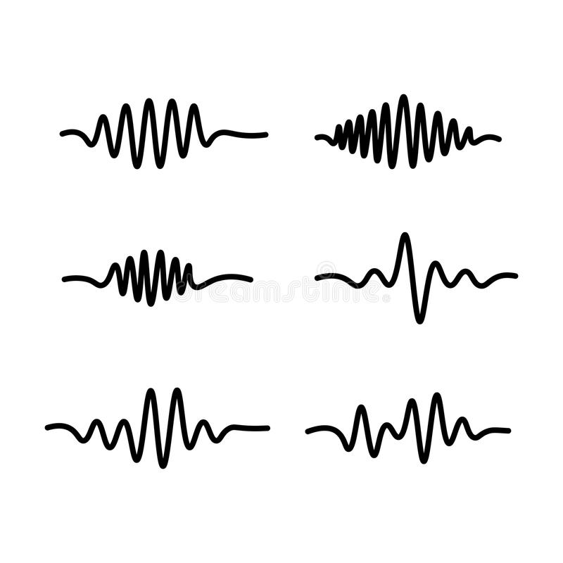 Line sound waves icon on white background. Thin line sound waves icon on white background stock illustration