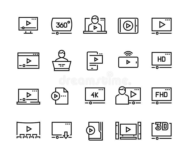 On-line-Spielerlinie Ikonen Video, das Online-Tutorial digitalen Darstellungspodcastschirm, on-line-Video-Player strömt vektor abbildung