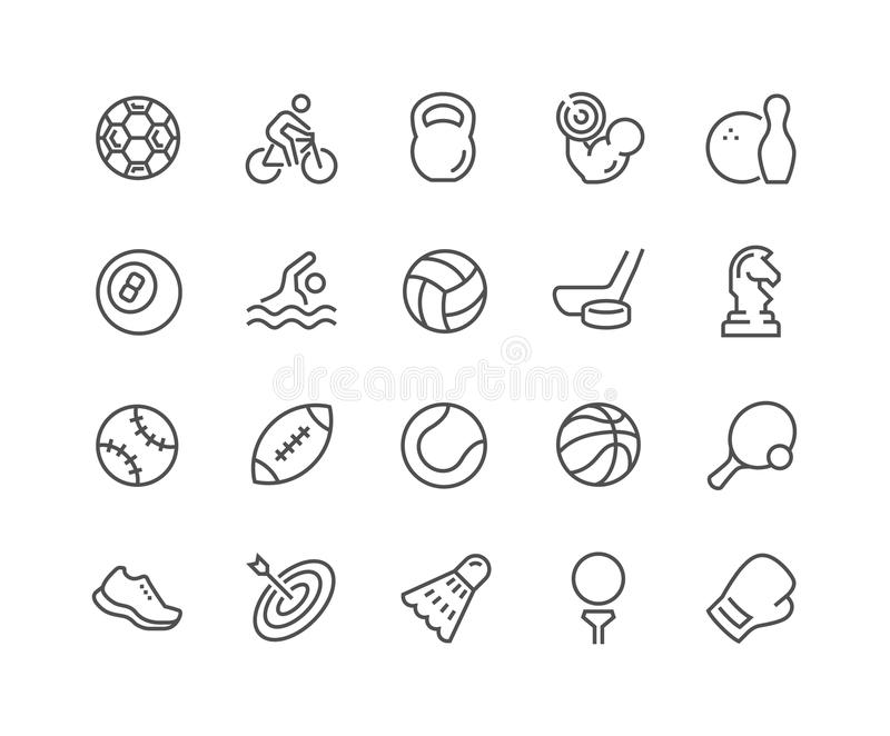 Line Sport Equipment Icons. Simple Set of Sport Equipment Related Vector Line Icons. Contains such Icons as Soccer Football, Bodybuilding, Jugging and more royalty free illustration