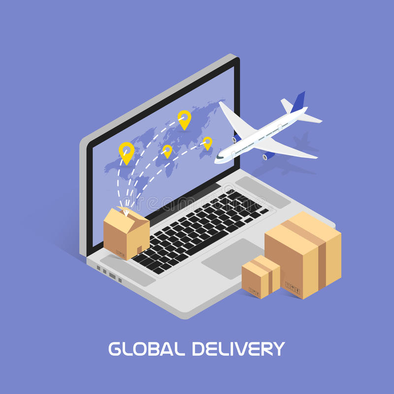 On-line-Spurhaltung des isometrischen Konzeptes Versenden und globale Lieferungen durch Flugdienst Pappschachteln mit Produkten vektor abbildung