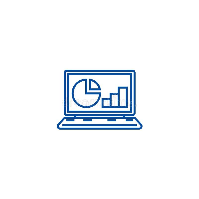 On-line-Statistiken, Daten Analyticslinie Ikonenkonzept On-line-Statistiken, flaches Vektorsymbol Daten Analytics, Zeichen, Entwu lizenzfreie abbildung