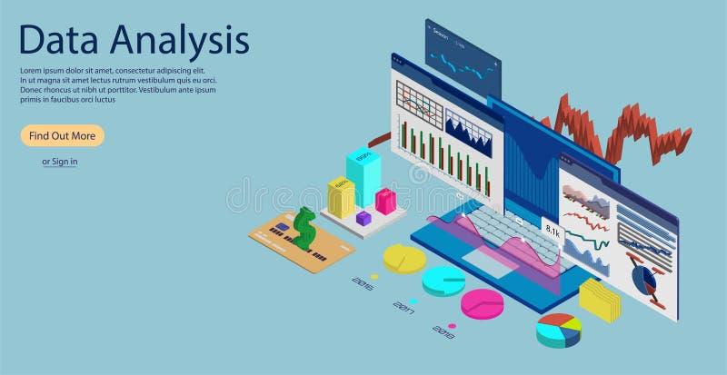 On-line-Statistiken und Daten Analytics-Konzept Banne lizenzfreie abbildung