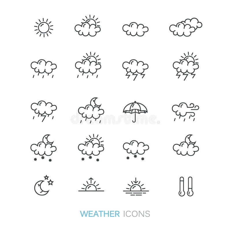 Line style collection of weather forecast icons. stock image