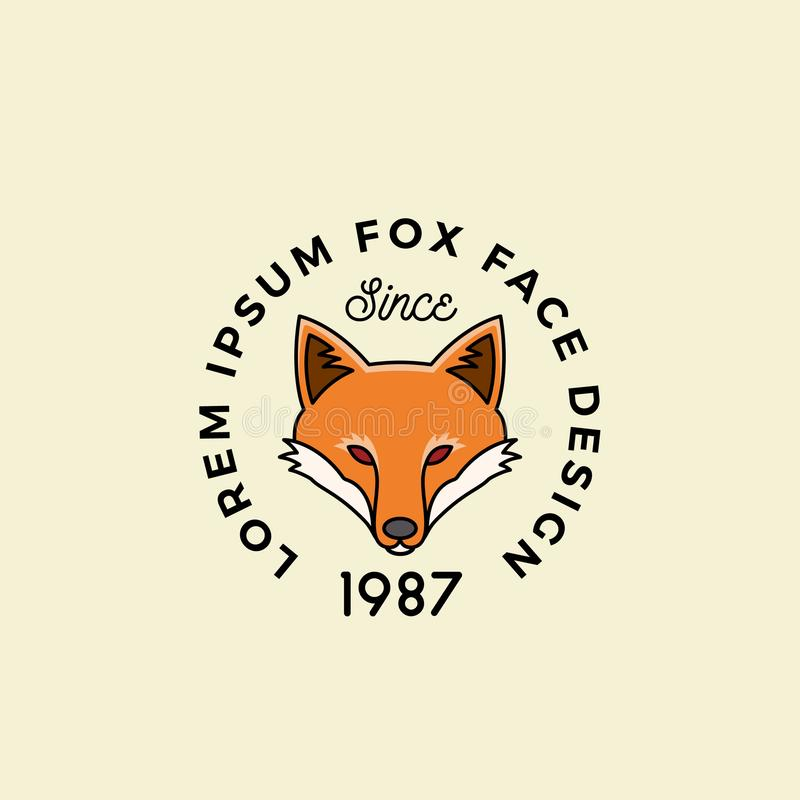 Line Style Fox Face with Retro Typography. Abstract Vector Sign, Symbol or Logo Template. Cartoon Silhouette.  vector illustration