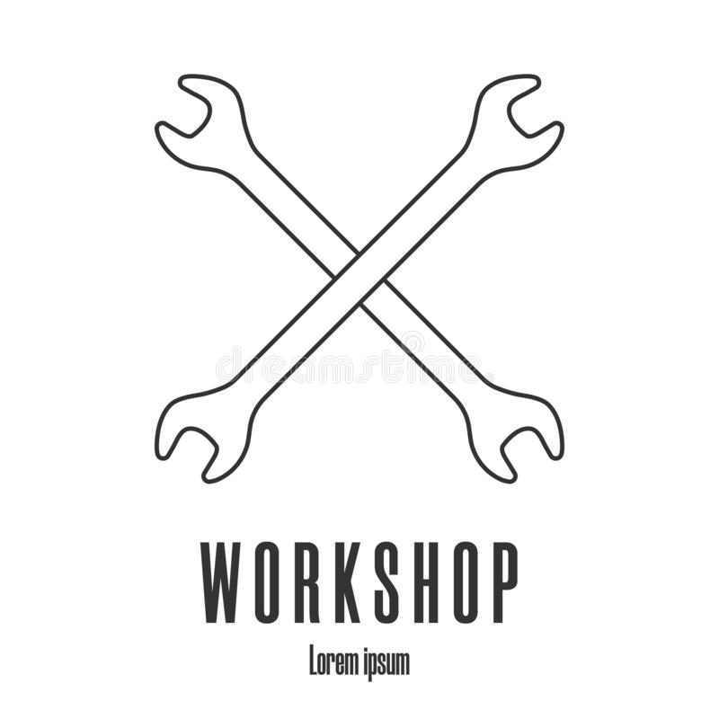 Line style icon of crossed wrenches. Workshop, mechanic, repair service logo template. Clean and modern vector illustration. royalty free illustration