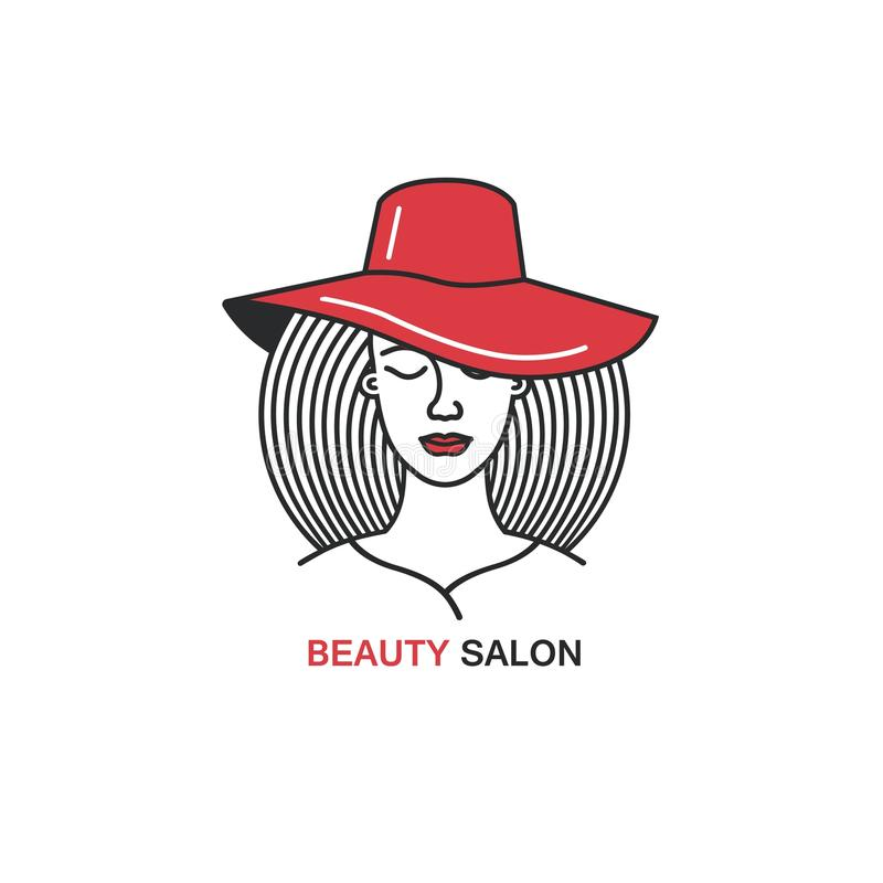 Line style icon template with woman in red hat. Beauty symbol. royalty free stock images