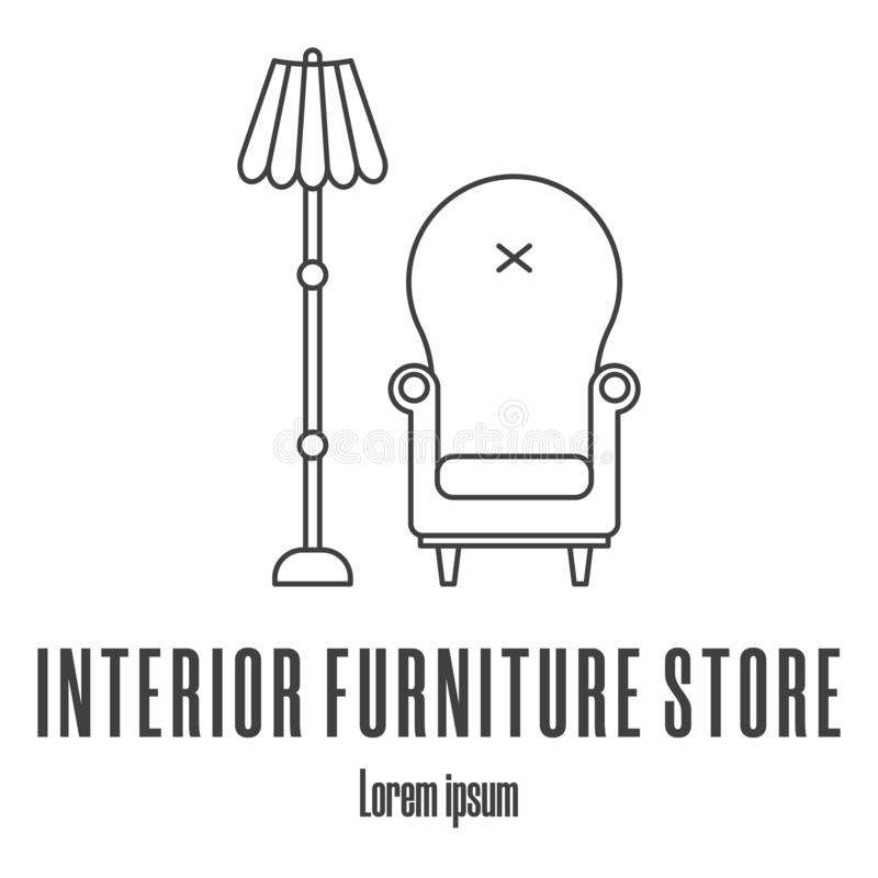 Line style icons of a armchair, lamp. Interior furniture store logo. Clean and modern vector illustration. royalty free illustration