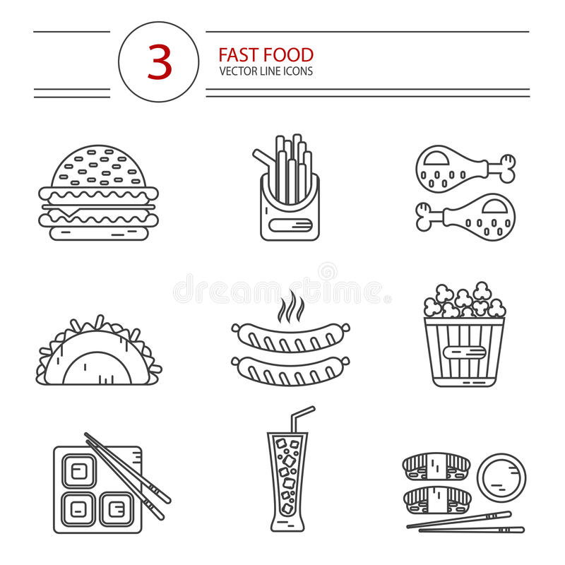 Line style icons set of fast food stock illustration