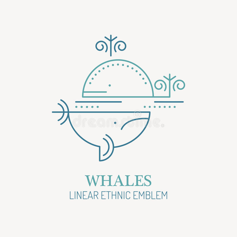 Line style sea whales - save the giants vector illustration. vector illustration