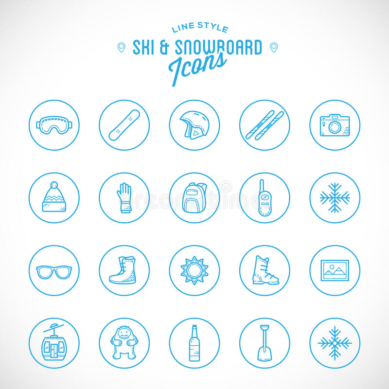 Line Style Vector Ski Resort Vacation Icon Set. Isolated vector illustration