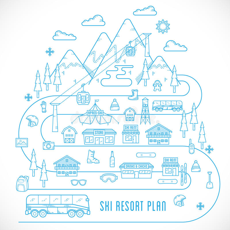 Free Line Style Vector Ski Resort Vacation Illustration Royalty Free Stock Images - 45904099