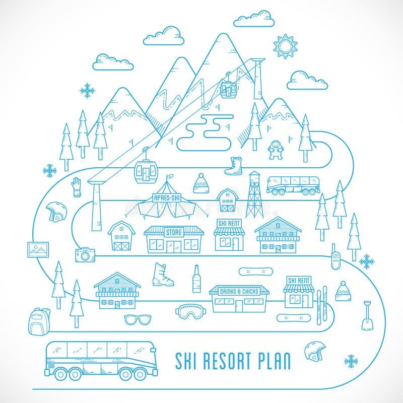 Line Style Vector Ski Resort Vacation Illustration. Line Style Vector Ski Resort Plan Vacation Illustration Isolated stock illustration