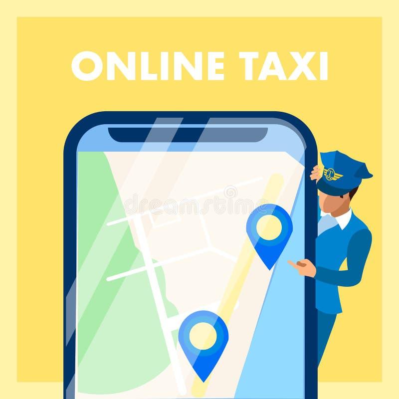 On-line-Taxi App-Vektor-Social Media-Fahnen-Konzept lizenzfreie abbildung