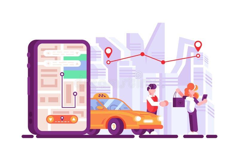 On-line-Taxi offener mobiler App auf Smartphoneschirm vektor abbildung