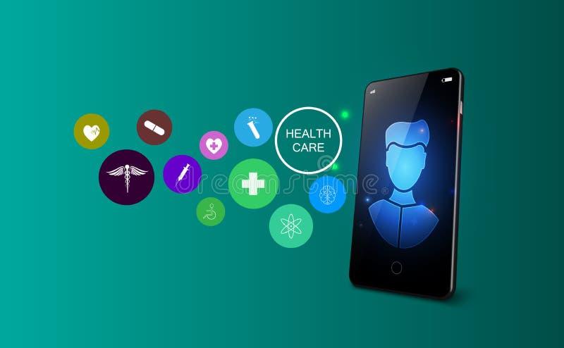 On-line-Telemedizinkonzept Medizinische Beratung und Behandlung über Anwendung von Smartphone Auch im corel abgehobenen Betrag vektor abbildung