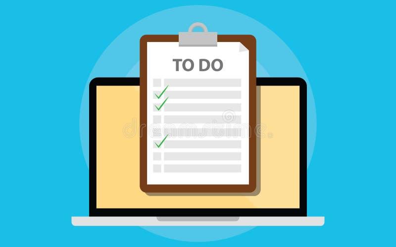 On-line--todo Liste mit Klemmbrett und Laptop und Checkliste auf Schirm lizenzfreie abbildung