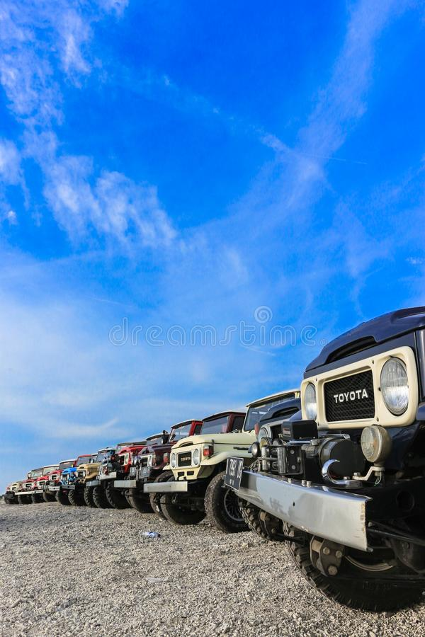 A line of tough truck. A line of tough 4x4 truck in the beach royalty free stock image