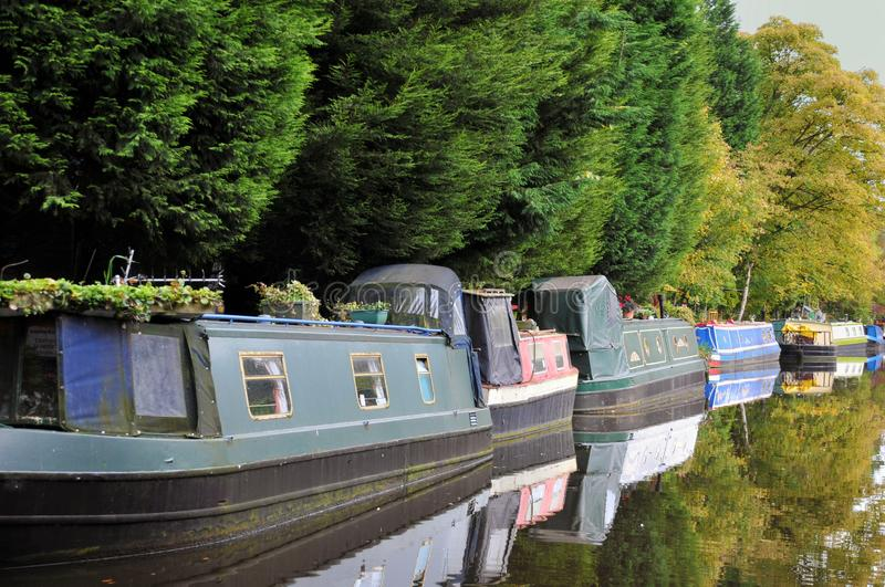 Line of traditional narrow boats and houseboats moored along the canal with trees reflected in the still water in summer stock photography