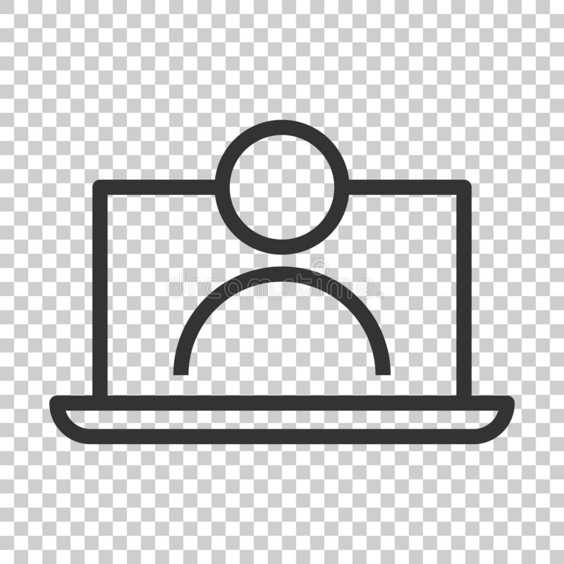 On-line-Trainingsprozessikone in der flachen Art Webinar-Seminar vect stock abbildung