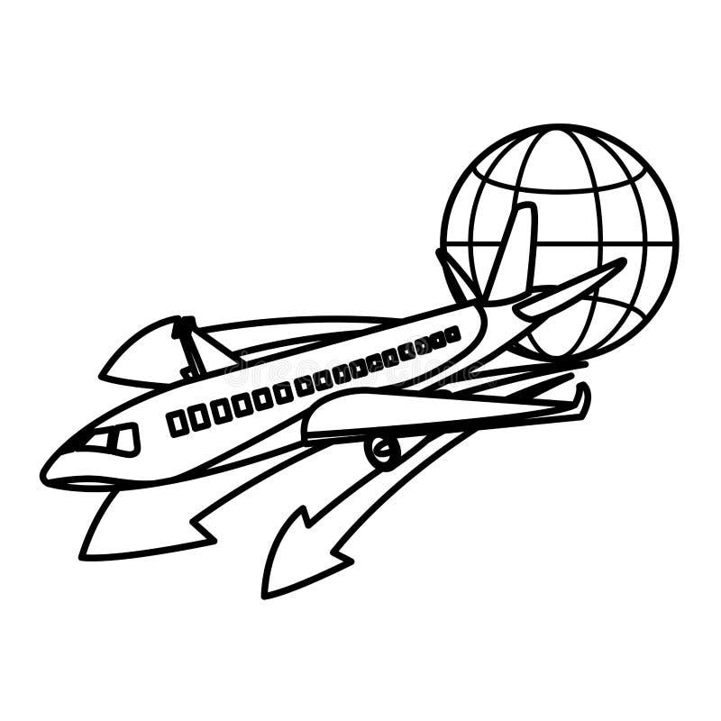 Line travel airplane transport with global symbol vector illustration