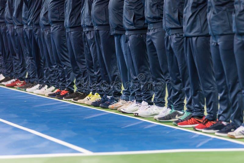 Line umpire. Tennis match opening ceremony stock photo