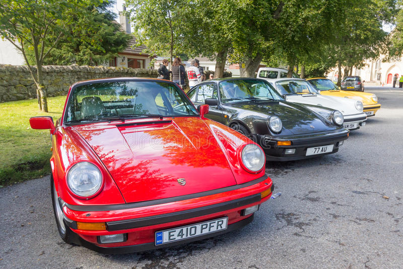 Line up of classic Porsche 911 Carreras royalty free stock image