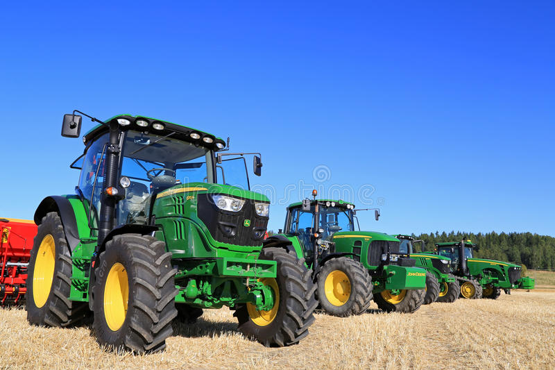 Line up of John Deere Agricultural Tractors royalty free stock image