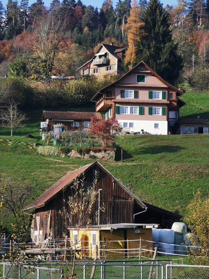 Swiss farm houses royalty free stock photography
