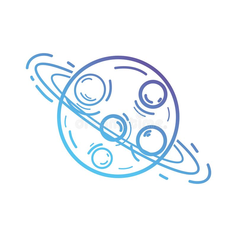 Line uranus planet with his rings in the galaxy space vector illustration